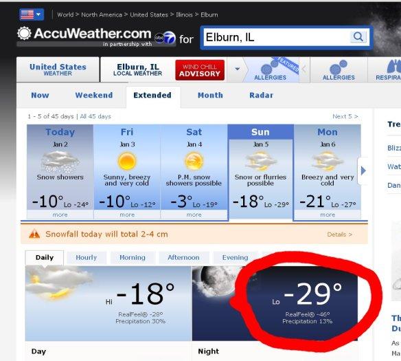 coldest day so far C